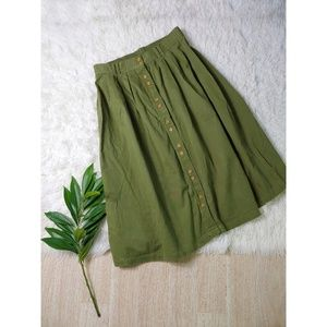 Vintage| Gitano Olive Green Button Down Midi Skirt